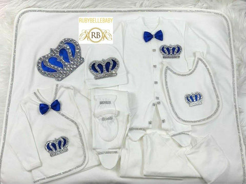 Rubybellebaby 10pcs Embellished Corners Prince Set - Blue