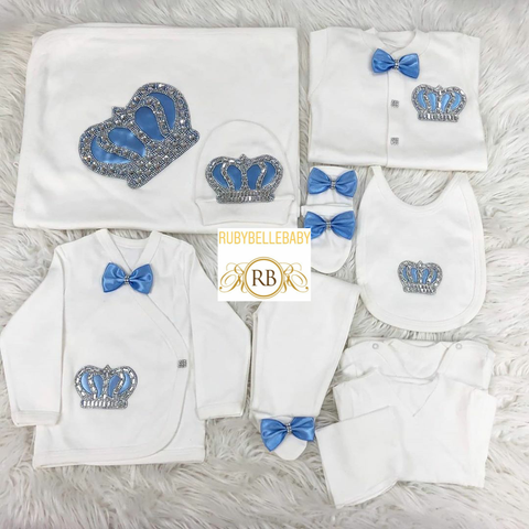 Rubybellebaby 10pcs HRH Crown Prince Set - Light Blue Bow