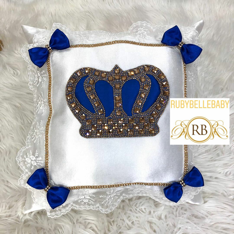 Bling Bling HRH Crown Baby Pillow - Royal blue and Gold