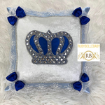 Bling Bling Rusched HRH Crown Baby Pillow - Blue
