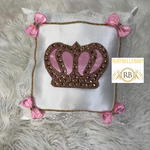 Bling Bling HRH Crown Baby Pillow - Pink/Gold