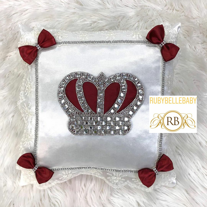 HRH Crown Baby Pillow - Burgundy/Silver