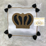 Bling Bling Prince Crown Baby Pillow - Black/Gold