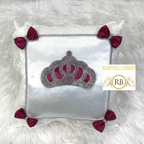 Bling Bling Princess Crown Baby Pillow - Wine/Silver