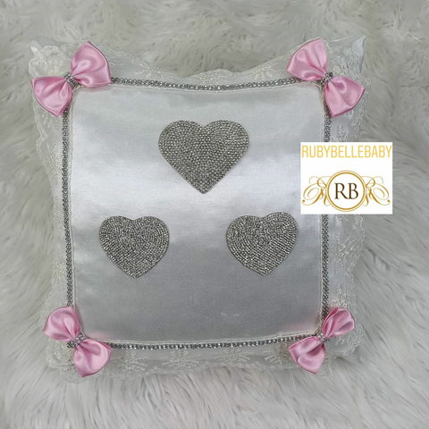 Bling Bling Heart Design Baby Pillow - Pink/Silver