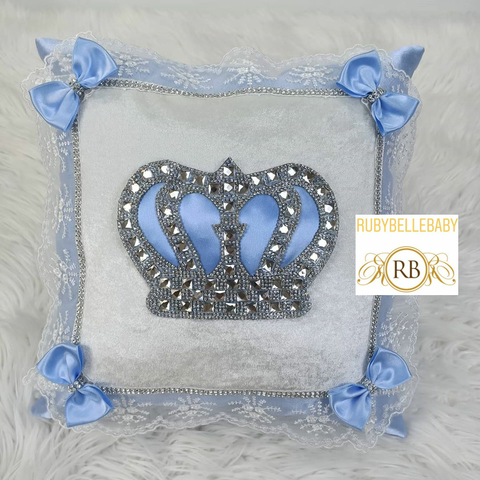 Bling Bling Rusched HRH Crown Baby Pillow - Light blue