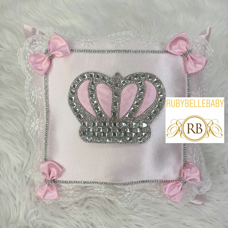 Bling Bling HRH Crown Baby Pillow - Pink