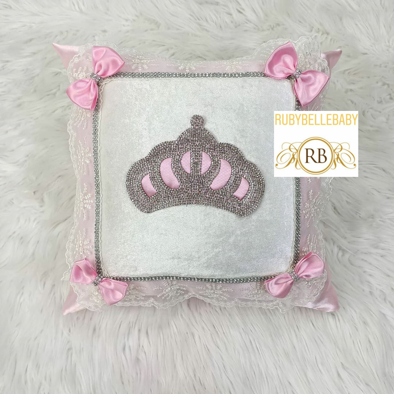 Bling Bling Princess Crown Rusched Baby Pillow - Pink
