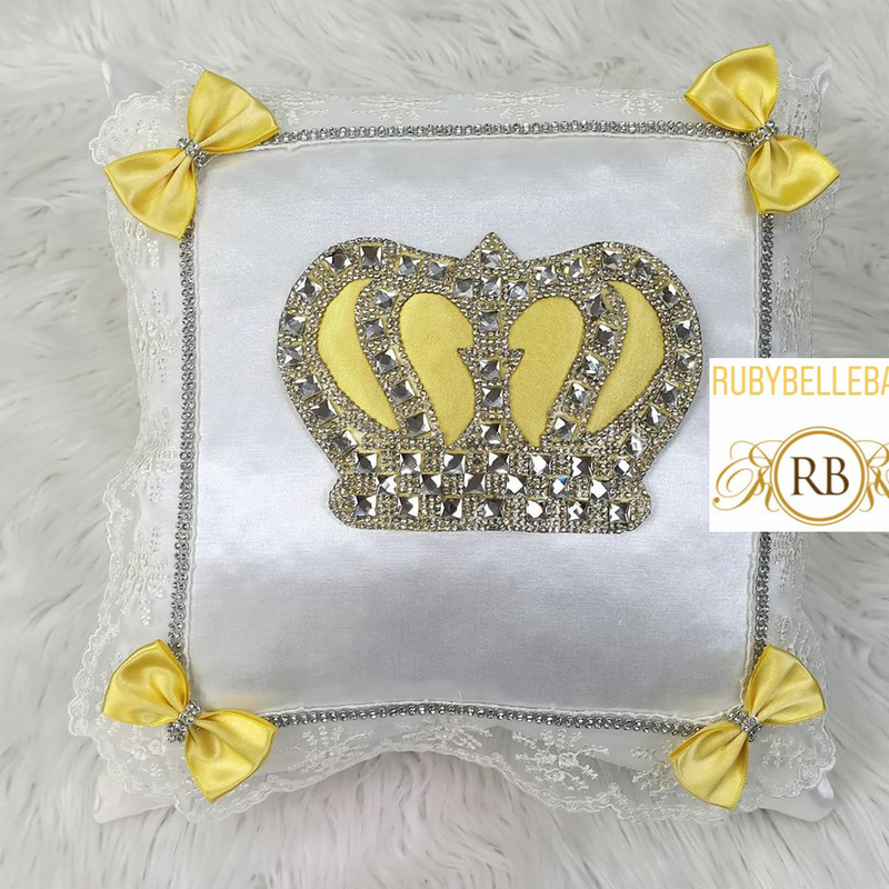HRH Crown Baby Pillow - Yellow