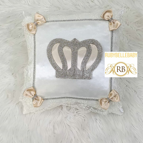 Bling Bling Prince Crown Baby Pillow - Beige