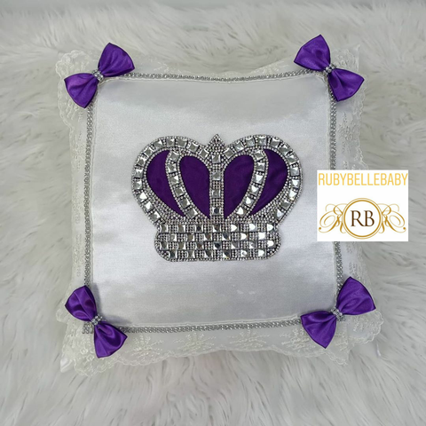 Bling Bling HRH Princess Crown Baby Pillow - Purple