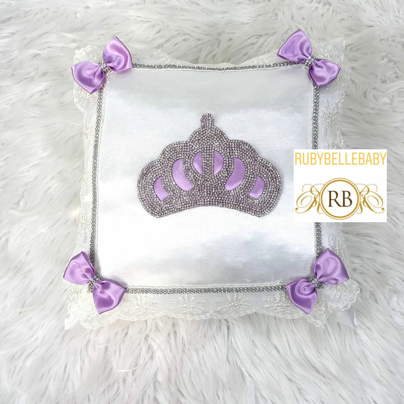 Bling Bling Princess Crown Baby Pillow - Lilac
