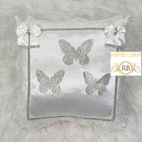 Bling Bling Princess Butterfly Baby Pillow - White