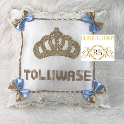 Bling Bling Princess Crown Baby Pillow - Light Blue/Gold
