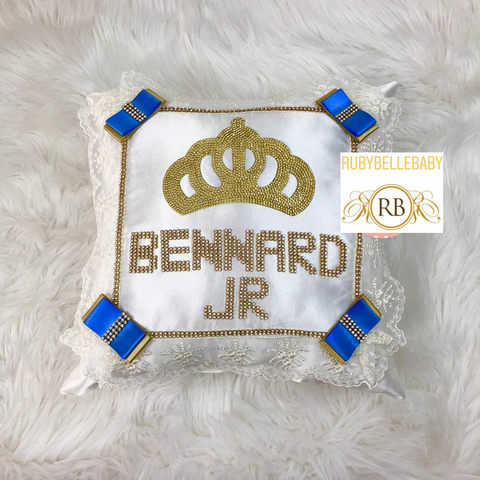 Bling Bling Prince Crown Baby Pillow - Blue/Gold
