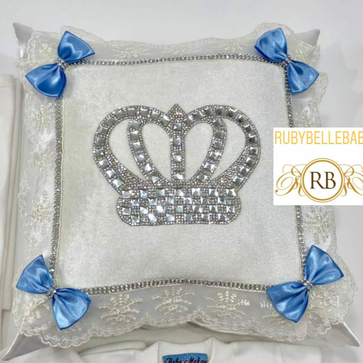 HRH Crown Baby Pillow - White/Blue Bow