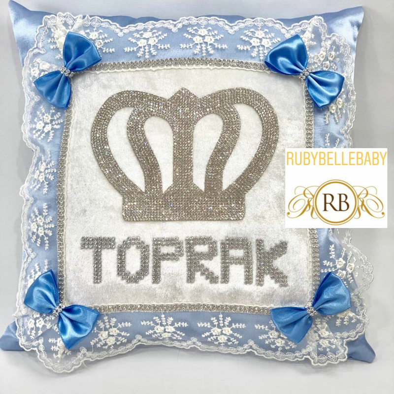 Royal Crown Baby Pillow - White/Blue
