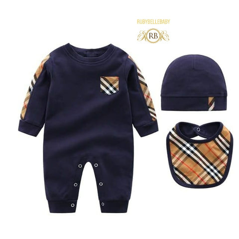 Snap up Navy Blue Newborn Infant Baby 3pcs Romper and Hat Gift Set