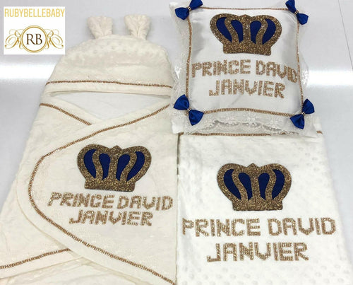 3pcs Royal Crown Blanket Set - All colors - RUBYBELLEBABY