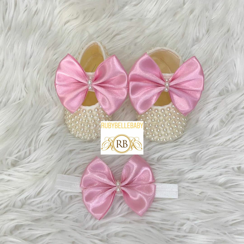 Kate Beaded Bow Shoes + Hairband - Pink