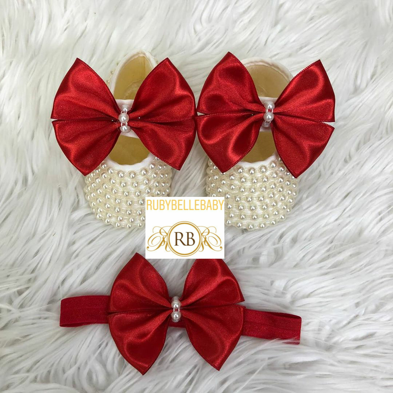 Kate Beaded Bow Shoes + Hairband - Red - RUBYBELLEBABY