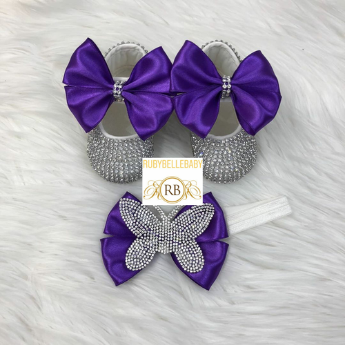 Swarvoski Butterfly Shoe Set- Purple - RUBYBELLEBABY