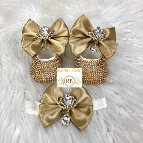Swarvoski Baby Dropping Diamond Bling Bow Shoes + Hairband - Gold