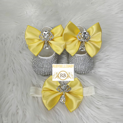 Swarvoski Princess Shoe Set - Yellow/Silver - RUBYBELLEBABY