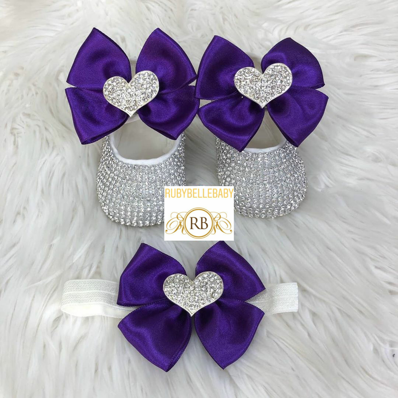 Swarvoski Heart Shoe Set - Purple/Silver - RUBYBELLEBABY