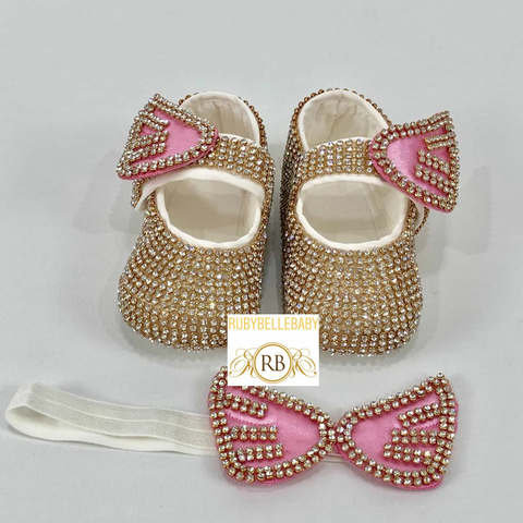 Swarvoski Wing Shoe Set - Gold/Pink