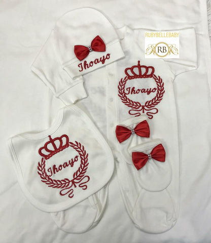 Rubybellebaby 10pcs Newborn Baby Unisex Embroidery Set - Red