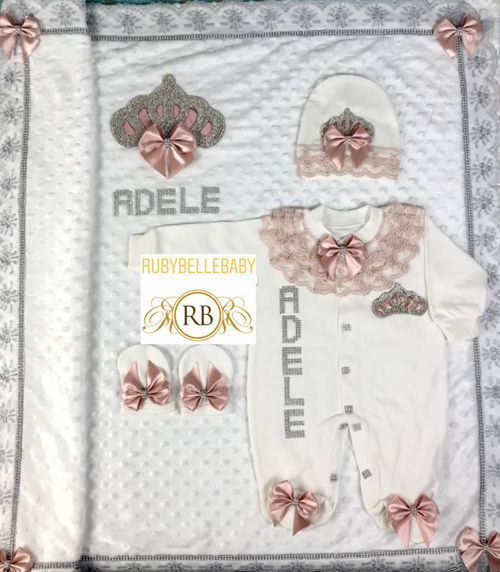 4pcs Jeweled Blanket Set - Blush Pink - RUBYBELLEBABY