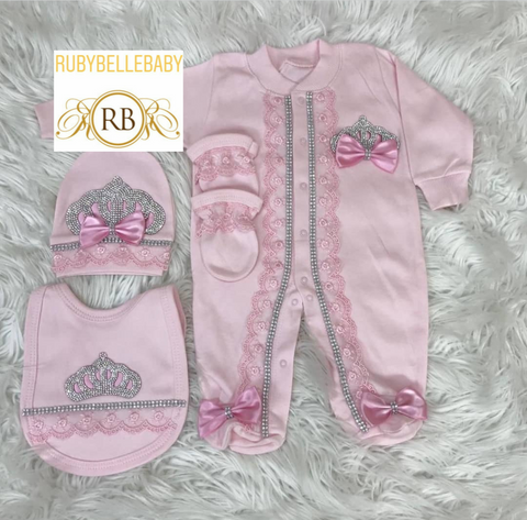 4pcs Princess Crown Bib Set - Pink
