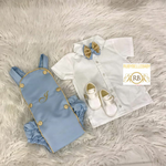 Baby Boy Mini Tux Suspender Set - Light Blue