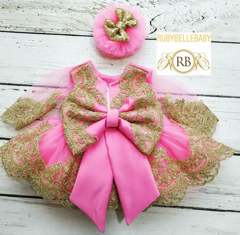 Sheila Pink and Gold Sequin Bow and Hair Band Dress Set