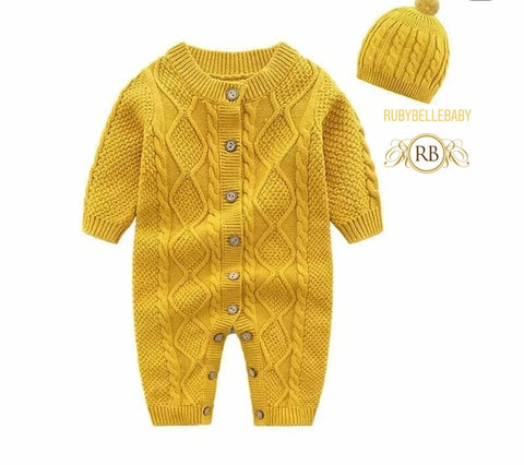 Cozy Warm Newborn Infant Baby 2pcs Romper and Hat Cashmere Sweater Gift Set - Mustard