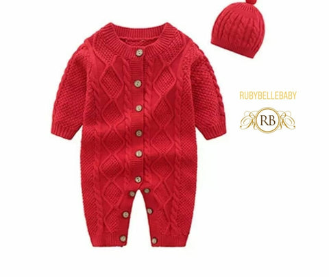 Cozy Warm Newborn Infant Baby 2pcs Romper and Hat Cashmere Sweater Gift Set - Red