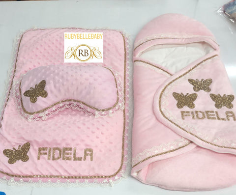 7pcs Butterfly Swaddle and Bubble Blanket Princess Set - Pink