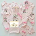 Rubybellebaby 10pcs Teddy Bear Set - Pink with Pink Bow