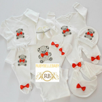 Rubybellebaby 10pcs Teddy Bear Set - White with Red Bow