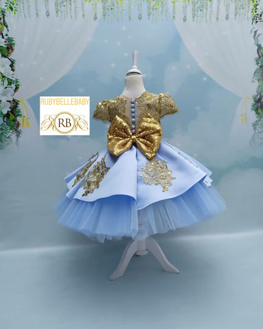 Lori Blue Gold Dream Birthday Tea Party Girls Newborn Dress
