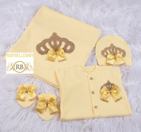 4pcs All Yellow Princess Crown Bling Bow Blanket Set - Yellow