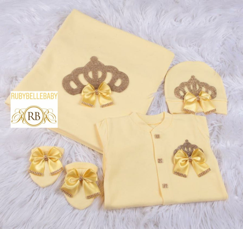 4pcs Princess Crown Set - Yellow