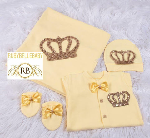 4pcs All Yellow HRH Crown Prince Blanket Set - Yellow