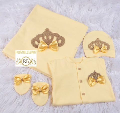 4pcs All Yellow Princess Crown Bow Blanket Set - Yellow/Gold