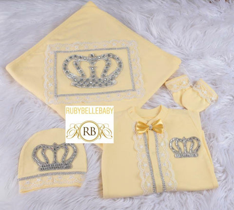 4pcs All Yellow HRH Crown Prince White Lace Blanket Set - Yellow