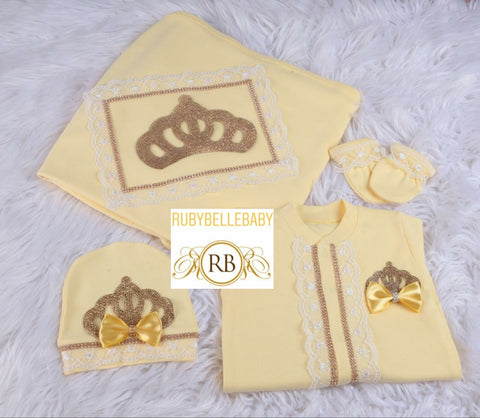 4pcs All Yellow Princess Crown Bling Bow White Lace Blanket Set - Yellow/Gold