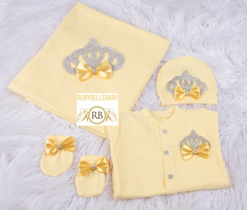 4pcs Princess Crown Set - Yellow/Silver