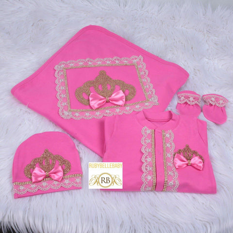 4pcs Lace Princess Crown Blanket Set - Hot Pink/Gold