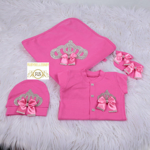 4pcs Bling Bow Princess Crown Blanket Set - Hot Pink